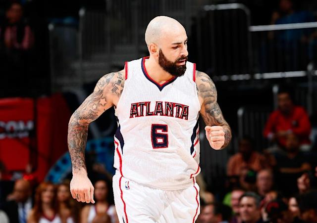 Pero Antic of the Atlanta Hawks, seen in action during a NBA game at Philips Arena in Atlanta, Georgia, on January 21, 2015 (AFP Photo/Kevin C. Cox)