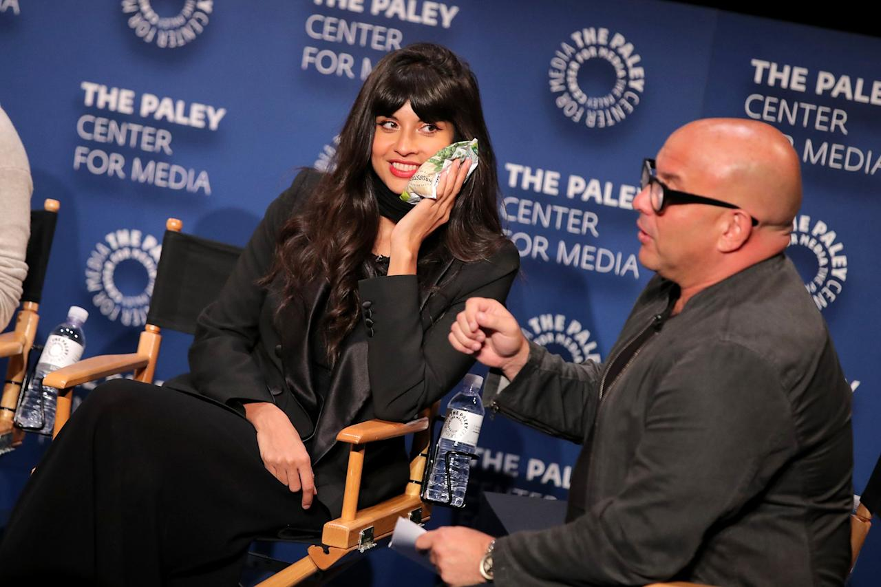 Jameela Jamil still makes it to the PaleyFest event for her new TV show <em>Misery Index</em> in Los Angeles on Friday after getting three teeth removed hours before.