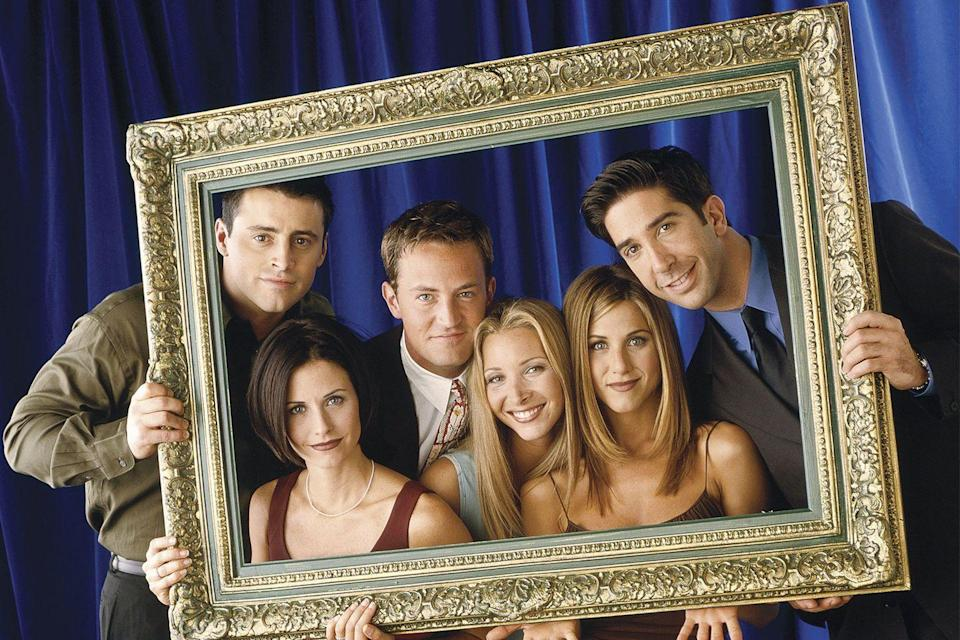 """<p>Apparently it was quite the journey to end up with <a href=""""https://www.emmys.com/news/industry-news/friends-20th-anniversary-oral-history"""" rel=""""nofollow noopener"""" target=""""_blank"""" data-ylk=""""slk:Friends as the title"""" class=""""link rapid-noclick-resp""""><em>Friends </em>as the title</a>. In the initial pitch for the show, it was called <em>Insomnia Café</em>. Once NBC became involved, it was changed to <em>Friends Like Us</em>. Then <em>Across the Hall</em>. Then <em>Six of One</em>. The network finally <a href=""""https://www.redbookmag.com/life/a19577662/monicas-apartment-purple-friends-set/"""" rel=""""nofollow noopener"""" target=""""_blank"""" data-ylk=""""slk:settled on"""" class=""""link rapid-noclick-resp"""">settled on </a><em><a href=""""https://www.redbookmag.com/life/a19577662/monicas-apartment-purple-friends-set/"""" rel=""""nofollow noopener"""" target=""""_blank"""" data-ylk=""""slk:Friends"""" class=""""link rapid-noclick-resp"""">Friends</a></em> shortly before it premiered in September 1994. </p>"""