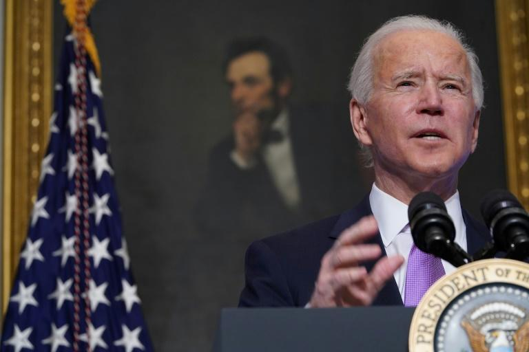 President Joe Biden said defeating the coronavirus pandemic requires a 'war-time' effort