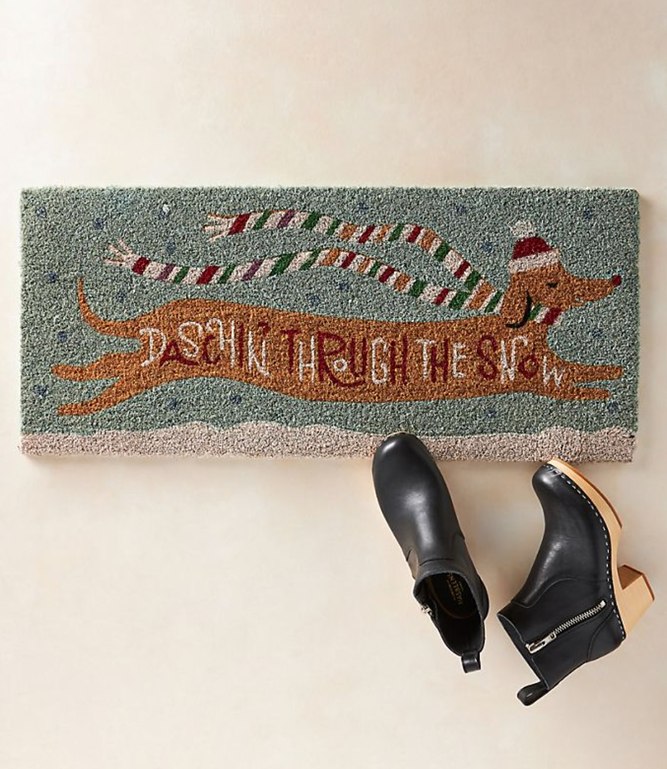 Daschin' Through The Snow Doormat (Photo via Anthropologie)