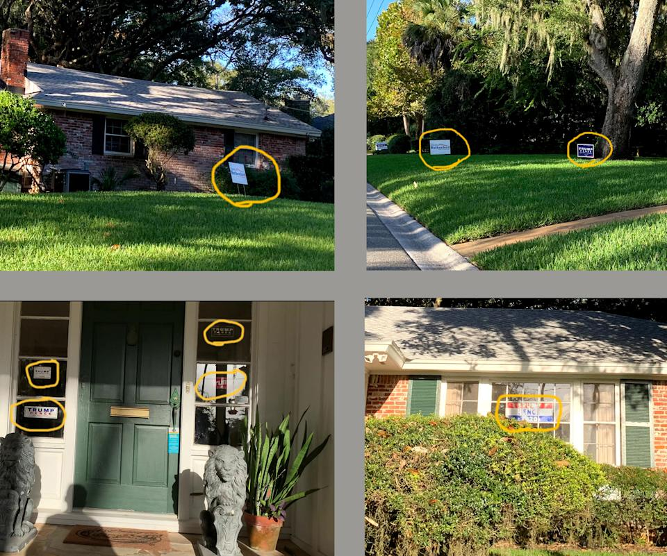 Photos of Duval County Judge Brad Shore's home showing six signs for Donald Trump and two for John Rutherford.