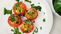 """<p>If you're looking for one of <a href=""""https://www.thedailymeal.com/cook/well-bet-you-didnt-know-you-could-do-all-tomato-0?referrer=yahoo&category=beauty_food&include_utm=1&utm_medium=referral&utm_source=yahoo&utm_campaign=feed"""" rel=""""nofollow noopener"""" target=""""_blank"""" data-ylk=""""slk:the best ways to cook fresh tomatoes"""" class=""""link rapid-noclick-resp"""">the best ways to cook fresh tomatoes</a>, you should add this recipe for Mediterranean stuffed tomatoes to your collection. Couscous and olives take these tomatoes from side to main.</p> <p><a href=""""https://www.thedailymeal.com/recipes/mediterranean-stuffed-tomatoes-recipe-0?referrer=yahoo&category=beauty_food&include_utm=1&utm_medium=referral&utm_source=yahoo&utm_campaign=feed"""" rel=""""nofollow noopener"""" target=""""_blank"""" data-ylk=""""slk:For the Mediterranean Stuffed Tomatoes recipe, click here."""" class=""""link rapid-noclick-resp"""">For the Mediterranean Stuffed Tomatoes recipe, click here.</a></p>"""