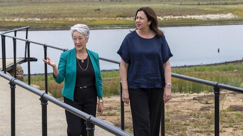Mayor Tracy Dobie (left) says as much as two years worth of water has flowed into Leslie Dam