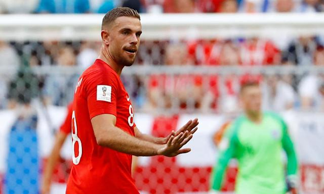 Jordan Henderson gives instructions to his team-mates during England's 2-0 quarter-final victory over Sweden on Saturday.