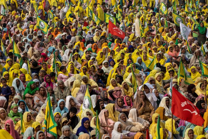 Farmers and agricultural workers attend a rally against farm laws in Barnala