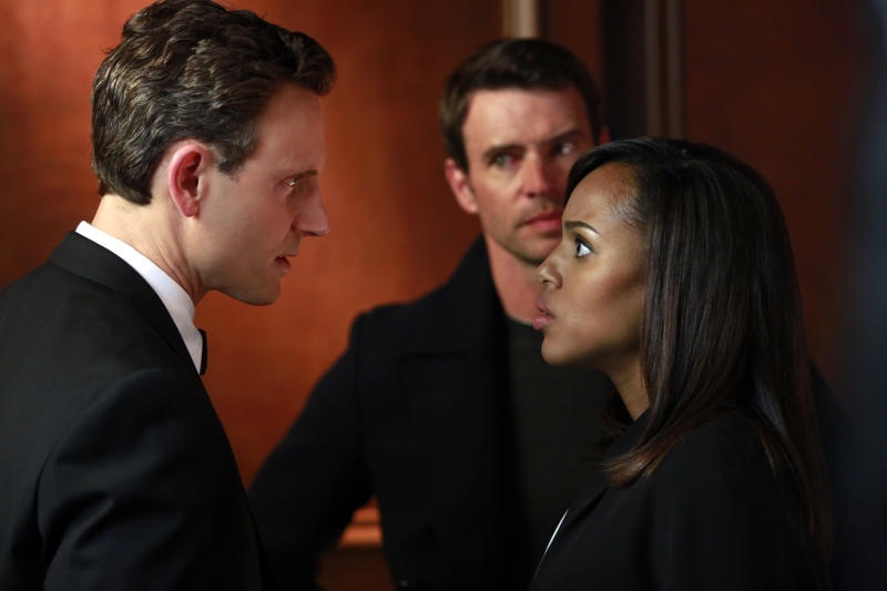 """This image released by ABC shows Tony Goldwyn, from left, Scott Foley and Kerry Washington in a scene from """"Scandal."""" The popular series ended its third season Thursday, April 18, 2014. (AP Photo/ABC, Ron Tom)"""