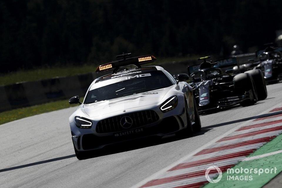 """The Safety Car leads Valtteri Bottas, Mercedes F1 W11 EQ Performance<span class=""""copyright"""">Charles Coates / Motorsport Images</span>"""