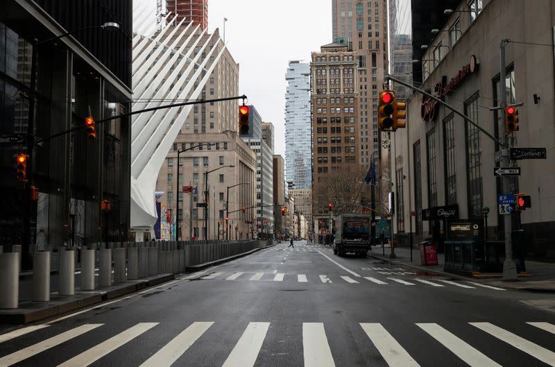 Nearly deserted Church Street in financial district is seen during outbreak of coronavirus disease (COVID-19) in New York