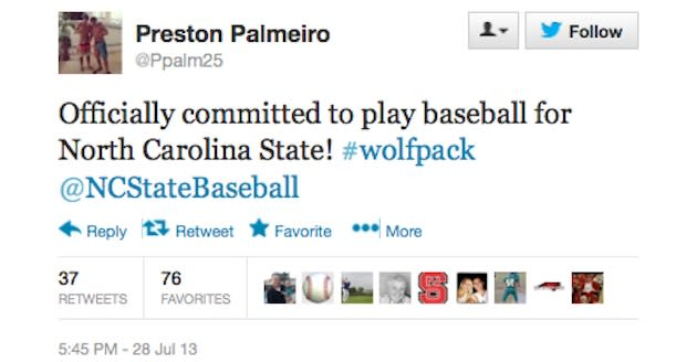 Preston Palmeiro committed to N.C. State on Twitter — Twitter