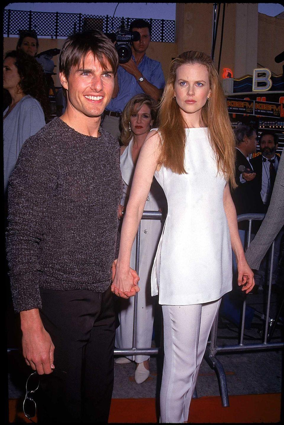 <p>Here's a reminder that Tom Cruise and Nicole Kidman were married, seen here in 1996 at Cruise's <em>Mission Impossible</em> premiere. </p>