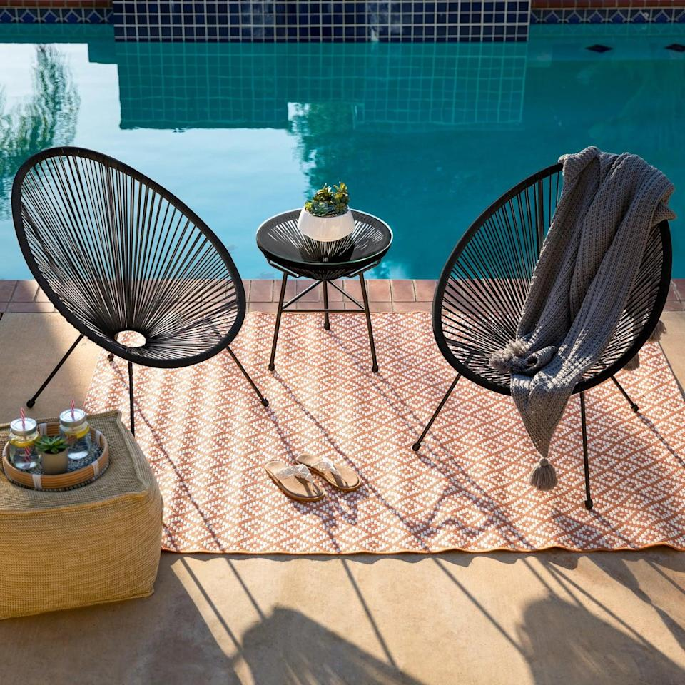 <p>Relax in the great outdoors with this <span>Best Choice Products 3-Piece All-Weather Patio Acapulco Bistro Furniture Set</span> ($220) eccentric yet modern set.</p>