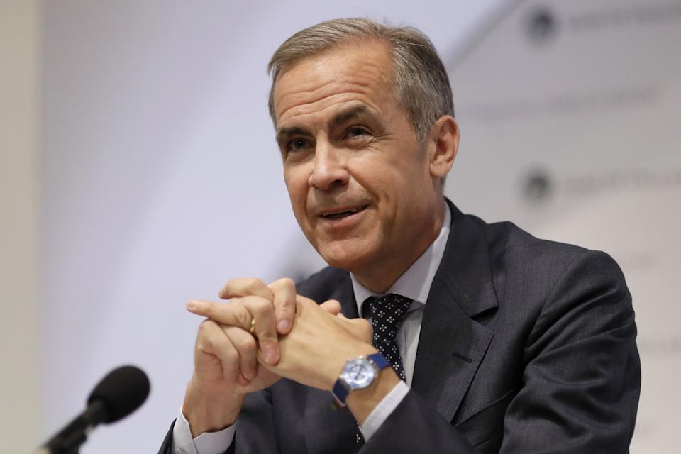 Mark Carney, Governor of the Bank of England smiles as he speaks during a Financial Stability Report press conference at the Bank of England in London on July 11, 2019. - Bank of England governor Mark Carney on Thursday gave outgoing IMF chief Christine Lagarde his warm support as she heads to the European Central Bank, but evaded questions about whether he wants to succeed her. (Photo by Matt Dunham / POOL / AFP)        (Photo credit should read MATT DUNHAM/AFP/Getty Images)