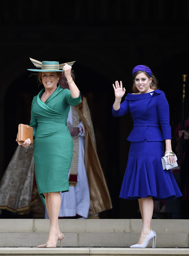 Sarah, Duchess of York and Princess Beatrice arrive ahead of the wedding of Princess Eugenie of York and Jack Brooksbank at St. George's Chapel on October 12, 2018, in Windsor, England.