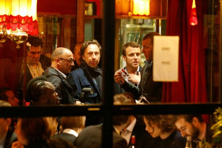 French presidential candidate Emmanuel Macron was criticized by some for a high-profile celebration at an expensive Paris bistrot after coming in first in the first round of France's presidential election on April 23, 2017