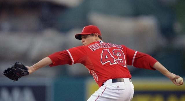 Los Angeles Angels relief pitcher Garrett Richards throws to the plate during the first inning of their baseball game against the Texas Rangers, Tuesday, Aug. 6, 2013, in Anaheim, Calif. (AP Photo/Mark J. Terrill)