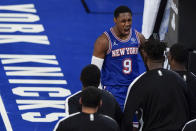 New York Knicks' RJ Barrett (9) celebrates with teammates after scoring during the second half of an NBA basketball game against the San Antonio Spurs Thursday, May 13, 2021, in New York. (AP Photo/Frank Franklin II, Pool)