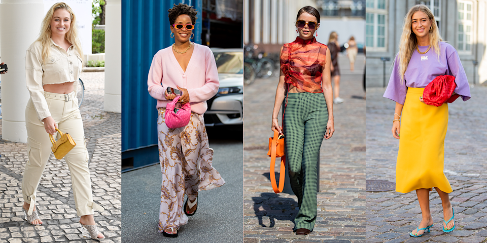 """<p>If your wardrobe consists of black, white and the occasional flash of grey, the prospect of wearing bold colours and prints can feel kind of intimidating. But, with summer fast approaching and a renewed enthusiasm for clothes that don't fall under the umbrella of 'loungewear', what better time to try something new?</p><p>Here to help you out, we've rounded up the top tips for rocking a zesty 'fit with confidence, along with more than a fair share of <a href=""""https://www.cosmopolitan.com/uk/fashion/style/g35629278/outfit-ideas/"""" rel=""""nofollow noopener"""" target=""""_blank"""" data-ylk=""""slk:outfit ideas"""" class=""""link rapid-noclick-resp"""">outfit ideas</a> to try. So, without further ado, this is how the style pros make wearing colour and print look easy peasy…</p>"""