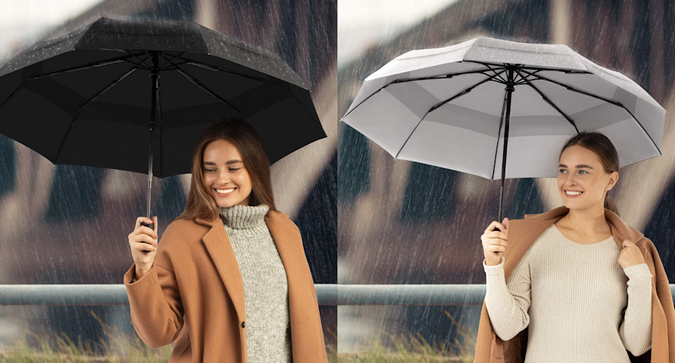 This shopper-approved umbrella stands up to the wind and rain. Images via Amazon.