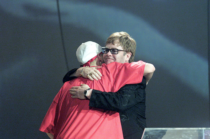Eminem and Elton John at the 2001 Brit Awards. (Photo by JMEnternational/Redferns)