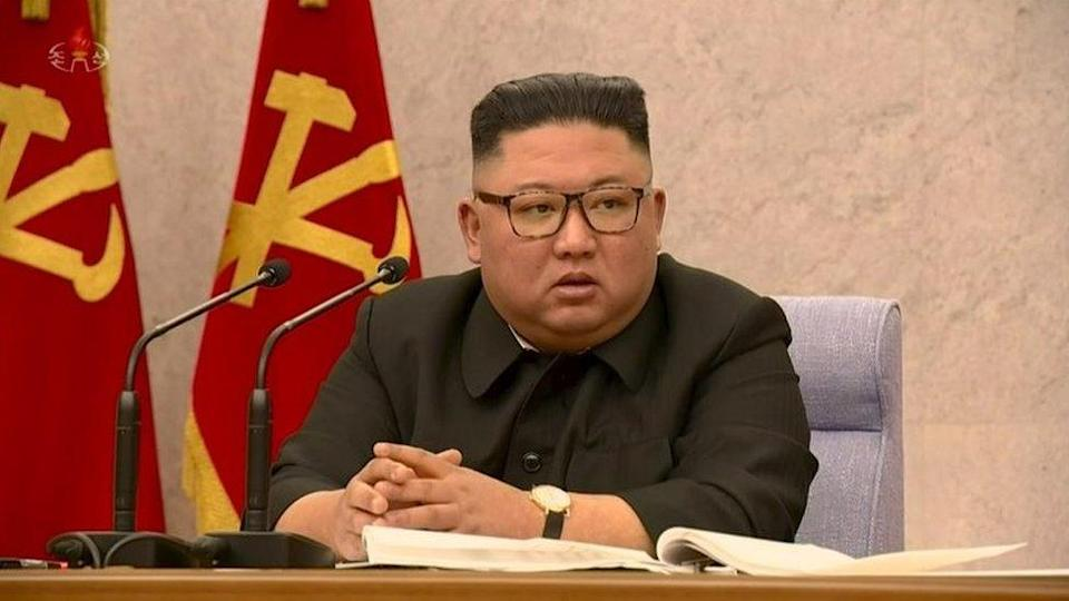 Kim Jong-un speaks at his party meeting on 12 February 2021
