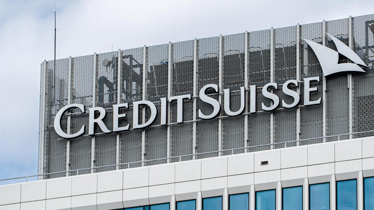 Warsaw, Poland - August 12, 2019: logo on the offices of the Credit Suisse Bank Group in Warsaw.