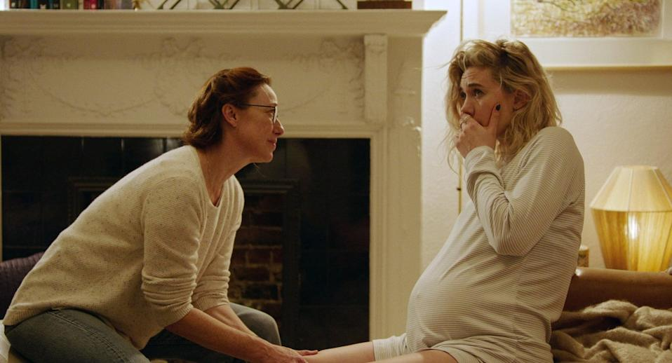 """<p>A woman learns to live with the grief of a miscarriage as the loss takes a toll on her relationships and her life.</p> <p>Watch <a href=""""https://www.netflix.com/title/81128745"""" class=""""link rapid-noclick-resp"""" rel=""""nofollow noopener"""" target=""""_blank"""" data-ylk=""""slk:Pieces of a Woman""""><strong>Pieces of a Woman</strong></a> on Netflix now.</p>"""