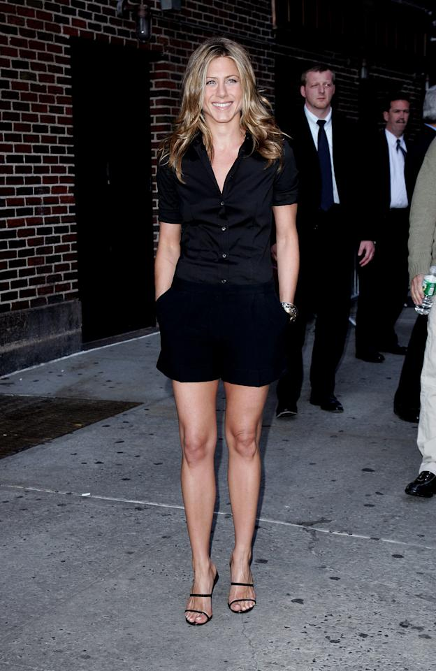 <p>Somehow Aniston manages to make a simple pair of black shorts and a button-down look like a million bucks. Showing off her toned legs, Jennifer once again visited David Letterman in 2006 looking effortlessly stylish. </p>