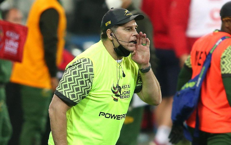 South African Director of Rugby Rassie Erasmus shouts instruction the his players during the 2021 British and Irish Lions tour to South Africa - Shaun Roy/Focus Images Limited