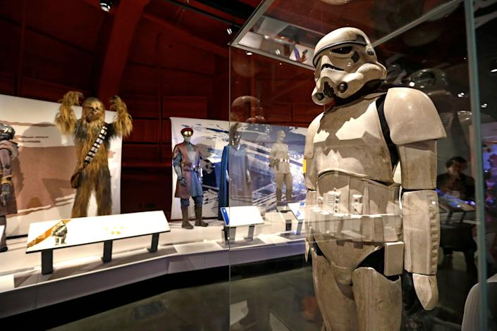 A stormtrooper costume. (AP Photo/Elaine Thompson)