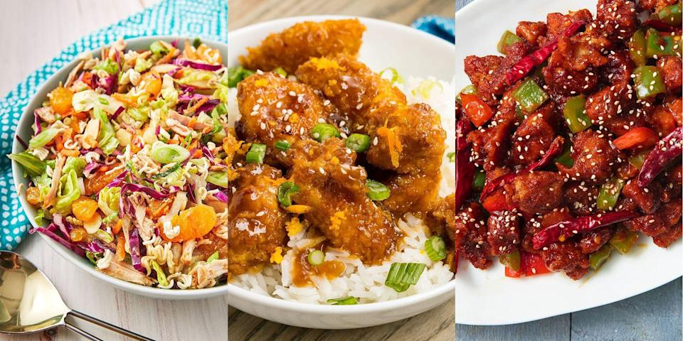 """<p><a href=""""https://www.delish.com/uk/food-news/g34573134/chinese-cooking-mistakes/"""" rel=""""nofollow noopener"""" target=""""_blank"""" data-ylk=""""slk:Chinese"""" class=""""link rapid-noclick-resp"""">Chinese</a> takeaway is top-tier, as-is. But the Chinese <a href=""""https://www.delish.com/uk/chicken-recipes/"""" rel=""""nofollow noopener"""" target=""""_blank"""" data-ylk=""""slk:chicken"""" class=""""link rapid-noclick-resp"""">chicken </a><a href=""""https://www.delish.com/uk/chicken-recipes/"""" rel=""""nofollow noopener"""" target=""""_blank"""" data-ylk=""""slk:recipes"""" class=""""link rapid-noclick-resp"""">recipes</a> that come with? Now, they're game-changing. We're talking everything from <a href=""""https://www.delish.com/uk/cooking/recipes/a29640458/sticky-orange-chicken-recipe/"""" rel=""""nofollow noopener"""" target=""""_blank"""" data-ylk=""""slk:Sticky Orange Chicken"""" class=""""link rapid-noclick-resp"""">Sticky Orange Chicken</a> to <a href=""""https://www.delish.com/uk/cooking/recipes/a30959950/chicken-chow-mein-recipe/"""" rel=""""nofollow noopener"""" target=""""_blank"""" data-ylk=""""slk:Chicken Chow Mein"""" class=""""link rapid-noclick-resp"""">Chicken Chow Mein</a>, and <a href=""""https://www.delish.com/uk/cooking/recipes/a30322725/szechuan-chicken-recipe/"""" rel=""""nofollow noopener"""" target=""""_blank"""" data-ylk=""""slk:Szechuan Chicken"""" class=""""link rapid-noclick-resp"""">Szechuan Chicken</a> to <a href=""""https://www.delish.com/uk/cooking/recipes/a29559363/crispy-honey-sesame-chicken-recipe/"""" rel=""""nofollow noopener"""" target=""""_blank"""" data-ylk=""""slk:Crispy Honey Sesame Chicken"""" class=""""link rapid-noclick-resp"""">Crispy Honey Sesame Chicken</a>. There's just no beating those delicious sweet-and-sour flavours, complete with crispy chunks of chicken. SIGN US UP! </p><p>So, if you're looking for a selection of easy Chinese chicken recipes, we've got you covered. Looking for more <a href=""""https://www.delish.com/uk/cooking/recipes/g32460371/chinese-recipes/"""" rel=""""nofollow noopener"""" target=""""_blank"""" data-ylk=""""slk:Chinese recipes"""" class=""""link rapid-noclick-resp"""">Chinese recipes</a>? We've got a whole ro"""