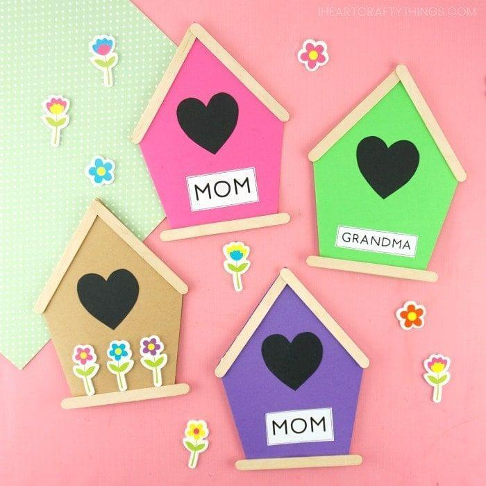 """<p>Here's a unique card that's great for moms who like birdwatching. They're a cinch to make, too. </p><p><strong>Get the tutorial at <a href=""""https://iheartcraftythings.com/birdhouse-card.html"""" rel=""""nofollow noopener"""" target=""""_blank"""" data-ylk=""""slk:I Heart Crafty Things"""" class=""""link rapid-noclick-resp"""">I Heart Crafty Things</a>. </strong></p><p><a class=""""link rapid-noclick-resp"""" href=""""https://www.amazon.com/Acerich-Sticks-Wooden-Popsicle-Length/dp/B01ECBIQAI?tag=syn-yahoo-20&ascsubtag=%5Bartid%7C2164.g.35668391%5Bsrc%7Cyahoo-us"""" rel=""""nofollow noopener"""" target=""""_blank"""" data-ylk=""""slk:SHOP POPSICLE STICKS"""">SHOP POPSICLE STICKS</a></p>"""