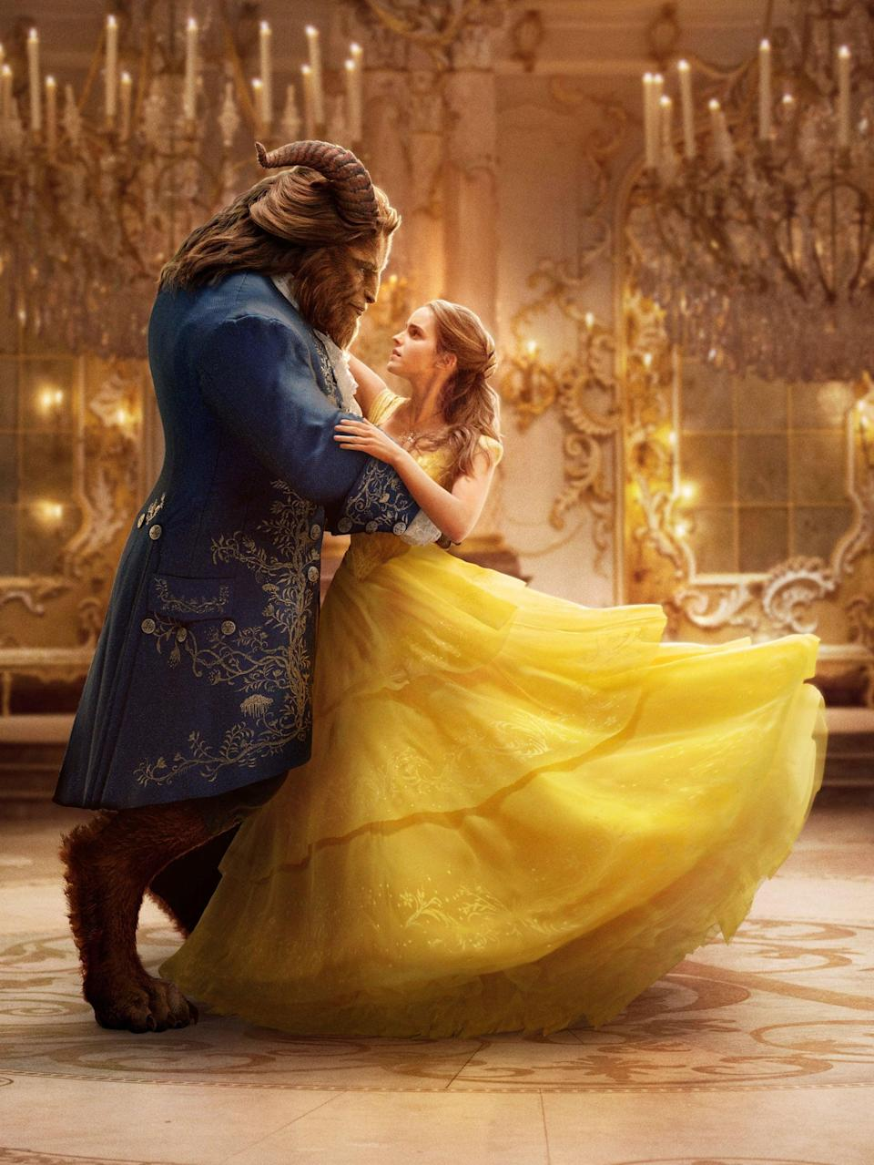 <p><strong>For Belle:</strong> A huge yellow ballgown. Curl your hair and pin it half up.</p> <p><strong>For the Beast:</strong> A blue velvet overcoat with a frilly white shirt over your beast headpiece. (You really need something with horns.)</p>