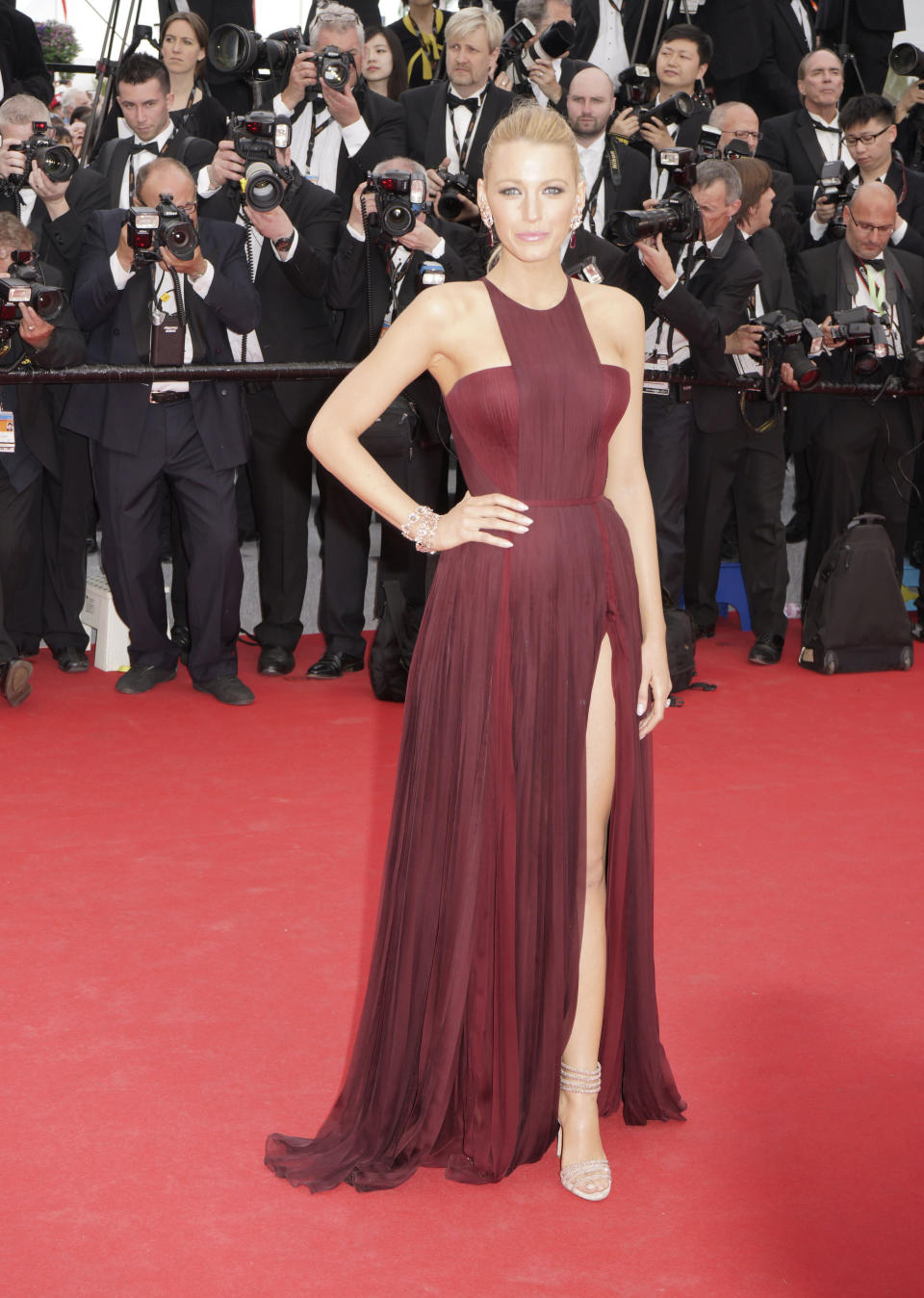 <p>Dressed for the premiere of Grace of Monaco, Blake pairs a full length wine red dress with understated shoes, and looks as glamorous as ever.<br><i>[Photo: Getty]</i> </p>
