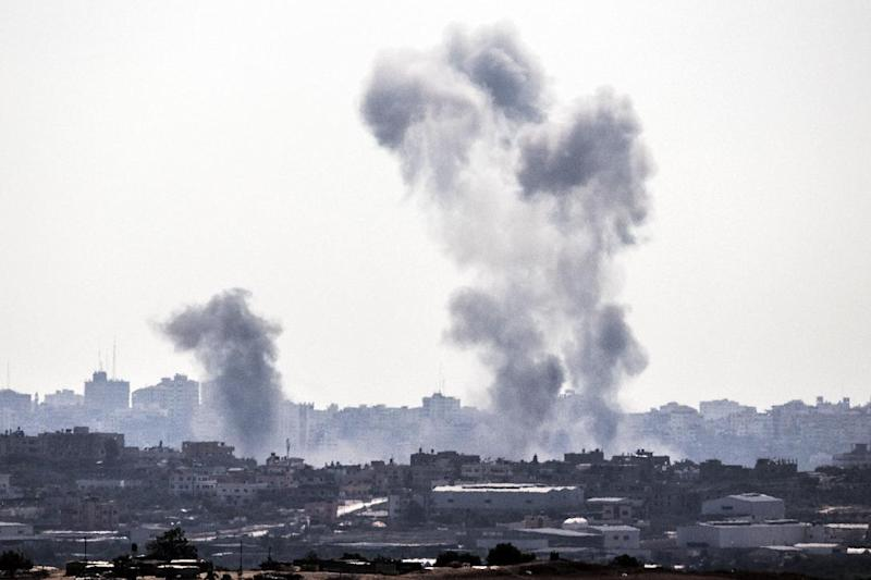 Smoke billowing after an Israeli air strike on the Gaza Strip, on July 8, 2014