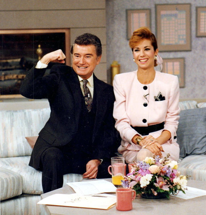 Regis Philbin and Kathie Lee Gifford on set in 1988 (J. Michael Dombroski / Newsday RM via Getty Images file)