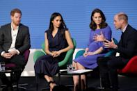 """<p><strong>When: Feb. 28, 2018</strong><br>Meghan Markle and Prince Harry made their first official royal engagement together with the Duke and Duchess of Cambridge at the Royal Foundation Forum on Wednesday. The """"royal four,"""" as they have now been dubbed, appeared cozy as they discussed the future ambitions of the foundation. <em>(Photo: Getty)</em> </p>"""