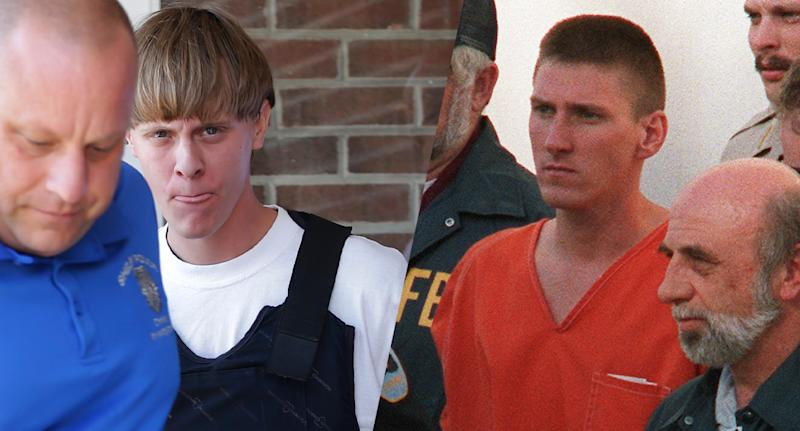 Dylann Storm Roof, left and Timothy McVeigh. (Photos: Chuck Burton/AP, Bob Daemmerich/AFP/Getty Images)