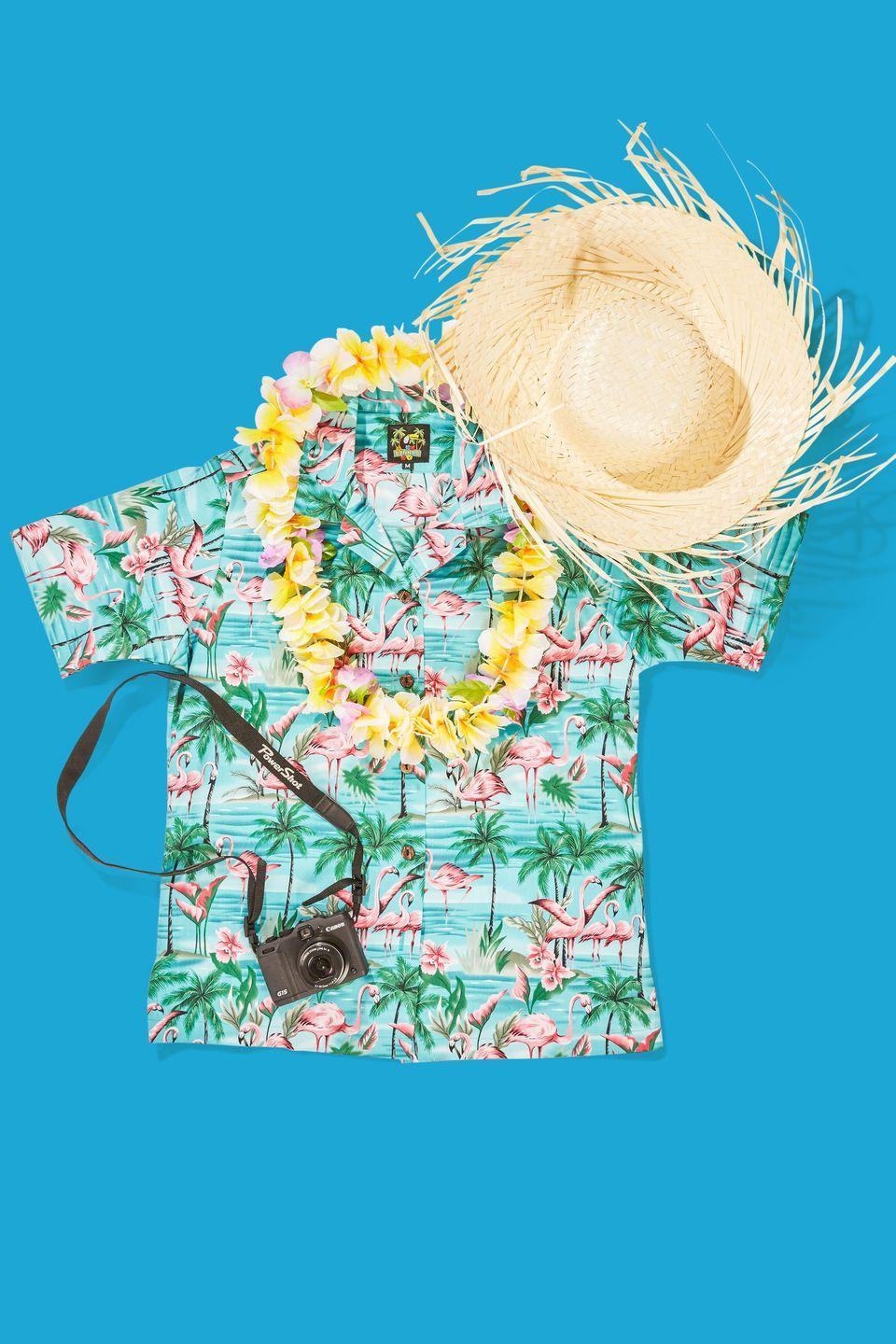"""<p>Take a trip this Halloween (or at least act like you are) by dressing up in a Hawaiian shirt, a straw hat and, of course, a lei. Complete the look with a camera that you can actually use to capture memories from the night. </p><p><strong><a class=""""link rapid-noclick-resp"""" href=""""https://www.amazon.com/Funky-Hawaiian-Blouse-Smallflower-lightblue/dp/B01KKAJQX6?tag=syn-yahoo-20&ascsubtag=%5Bartid%7C10070.g.490%5Bsrc%7Cyahoo-us"""" rel=""""nofollow noopener"""" target=""""_blank"""" data-ylk=""""slk:SHOP HAWAIIAN SHIRTS"""">SHOP HAWAIIAN SHIRTS</a></strong></p>"""