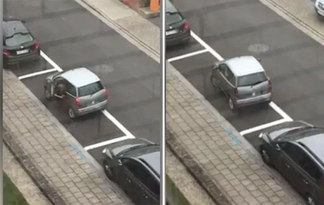 This woman seems unable to parallel park. Photo: Caters