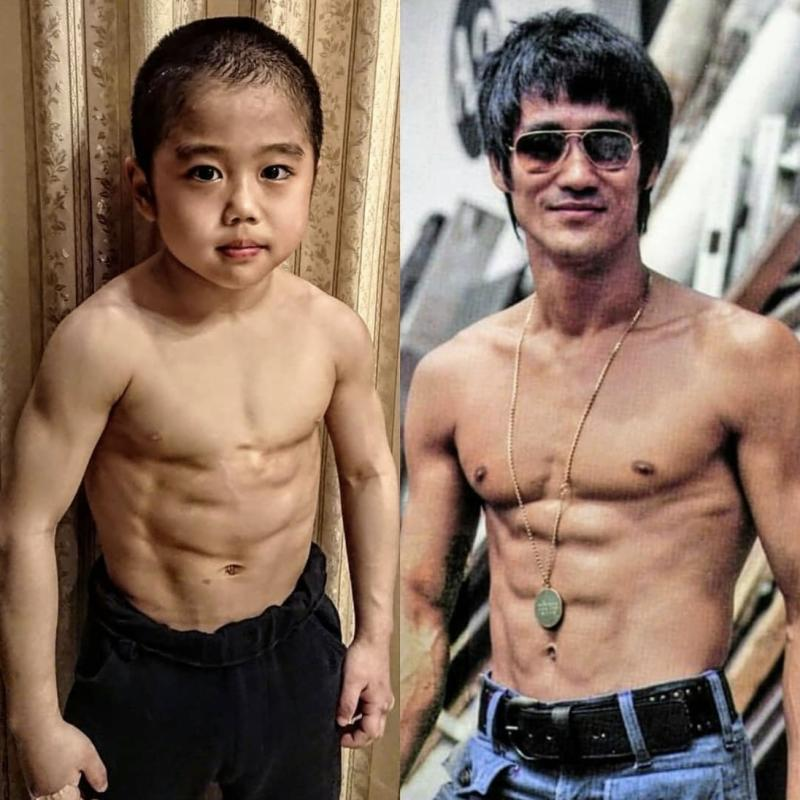 After years of training, Japanese Ryusei Imai looks nothing like a regular 10-year-old child. In this Instagram post he is seen beside a picture of his idol Bruce Lee, in a photo dated 12 May 2020. (Photo: Ryusei Imai/Instagram)
