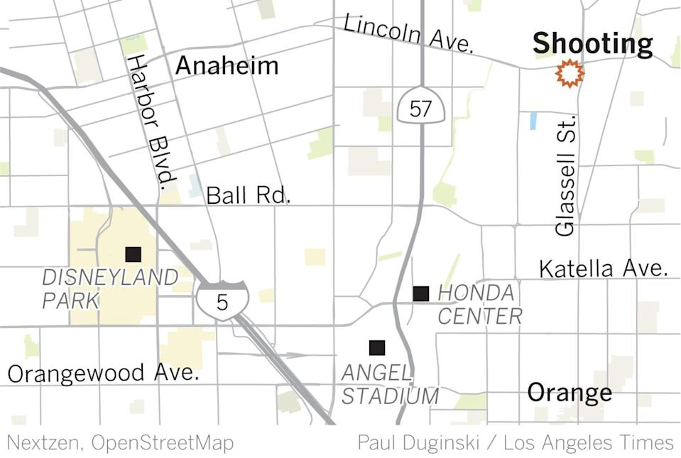 A map shows the location of the mass shooting in Orange