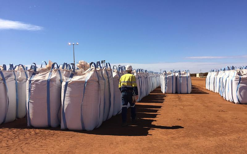 A Lynas Corp worker walks past sacks of rare earth concentrate waiting to be shipped to Malaysia, at Mount Weld, northeast of Perth, August 23, 2019. — Reuters pic