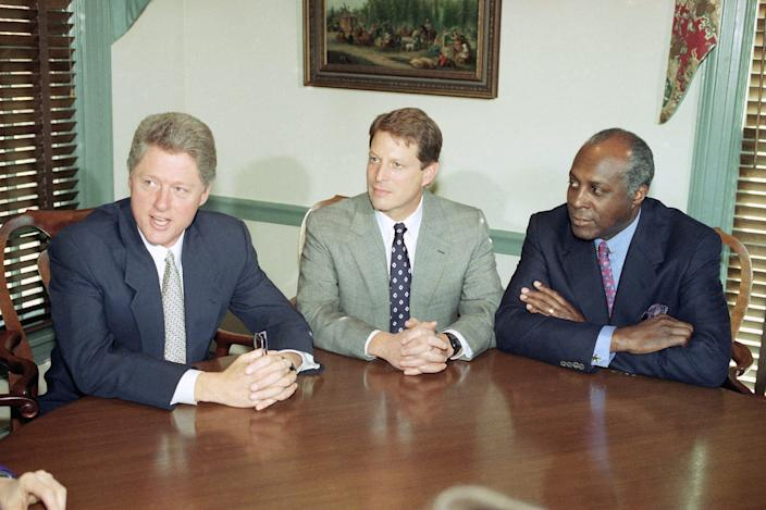 President-Elect Bill Clinton meets with Vice President-elect Al Gore and Vernon Jordan at the Governor's Mansion in Little Rock, Arkansas, on Nov. 18, 1992. Jordan was the Clinton-Gore transition chairman.