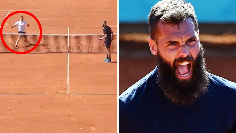 Benoit Paire left opponent Jozef Kovalik absolutely stunned with an array of drop shots in the first round of the Swiss Open. Pictures: TennisTV/Getty Images
