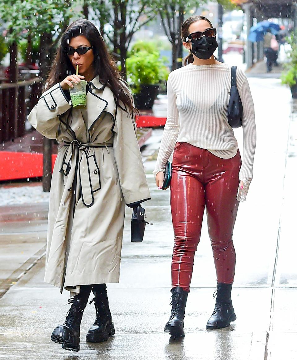 "<p><a href=""https://people.com/tv/kourtney-kardashian-addison-rae-photos/"" rel=""nofollow noopener"" target=""_blank"" data-ylk=""slk:Close friends"" class=""link rapid-noclick-resp"">Close friends</a> Kourtney Kardashian and Addison Rae hang out on a rainy Monday in N.Y.C. wearing matching black boots.</p>"