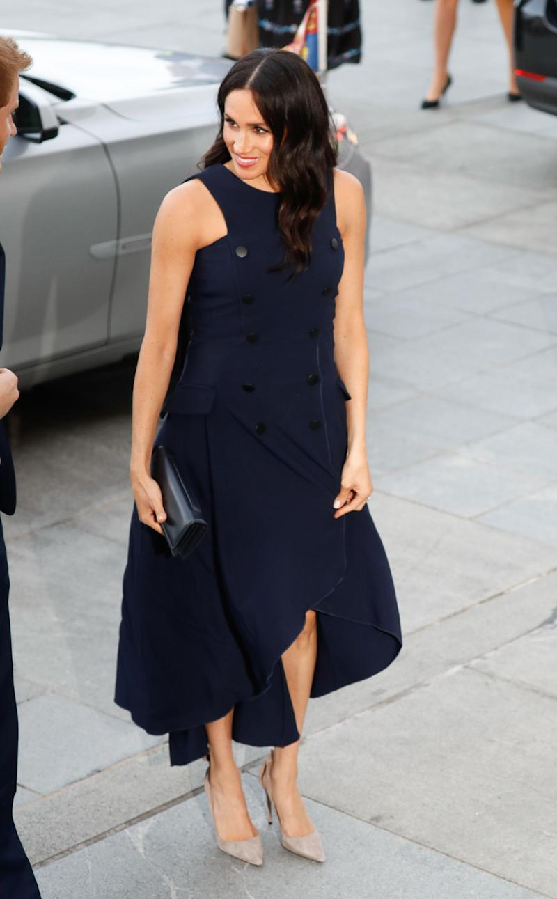 The former actress arrives at Auckland War Memorial Museum for a reception with Prime Minister Jacinda Ardern on Oct. 31 in Rotorua, New Zealand.