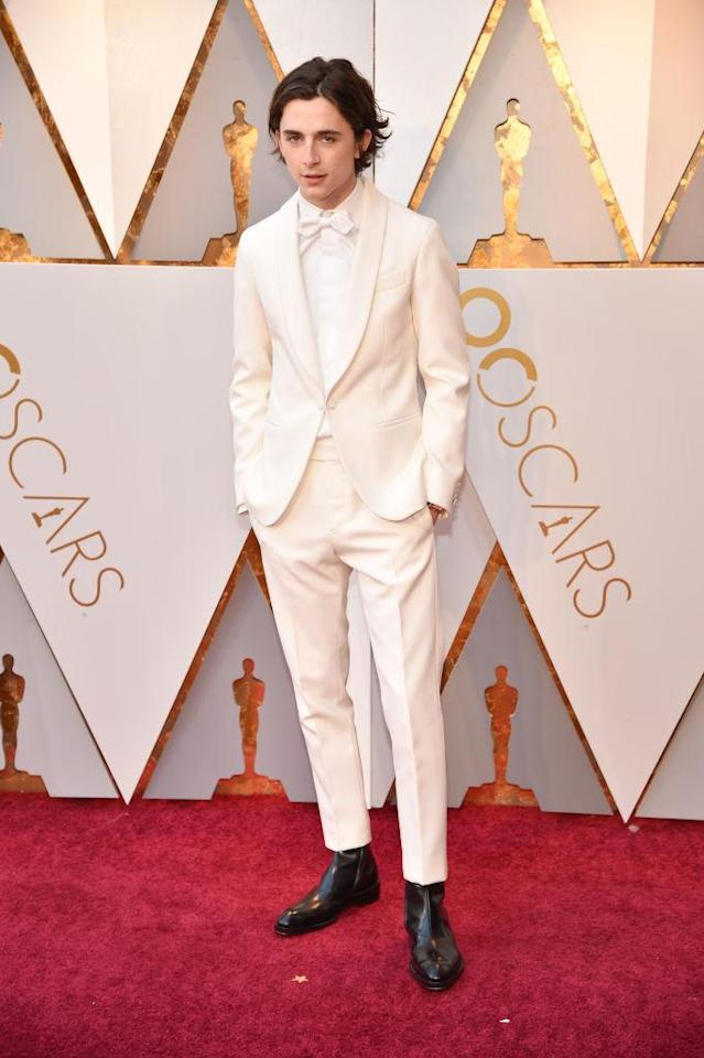 <p>The <em>Call Me By Your Name</em> actor joined the all-white movement with a Berluti suit. (Photo: Getty Images) </p>