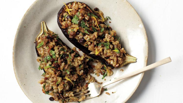 """<p>Lamb and eggplant are a match made in heaven—take this combination to the next level with fresh herbs, dried currants, and <a href=""""https://www.marthastewart.com/7842927/long-short-grain-rice-differences-explained"""" rel=""""nofollow noopener"""" target=""""_blank"""" data-ylk=""""slk:short-grain rice"""" class=""""link rapid-noclick-resp"""">short-grain rice</a>. The fact that it's both delicious and healthy doesn't hurt. <a href=""""https://www.marthastewart.com/1050444/eggplants-stuffed-lamb-rice-and-currants"""" rel=""""nofollow noopener"""" target=""""_blank"""" data-ylk=""""slk:View recipe"""" class=""""link rapid-noclick-resp""""> View recipe </a></p>"""