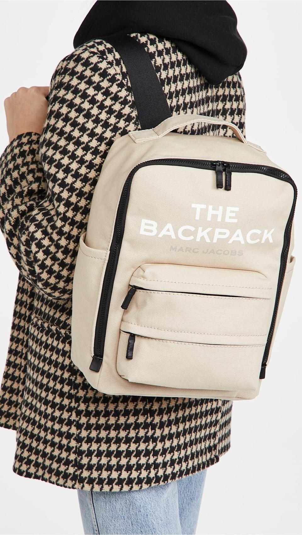 <p>We love everything about <span>The Marc Jacobs Backpack</span> ($225): the profile, the multiple pockets and versatile neutral color.</p>